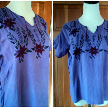 Vintage 70s Hippie Blouse Embroidered Mexican Gauze Muslin Hippy Top Embroidery Festival M 38 bust