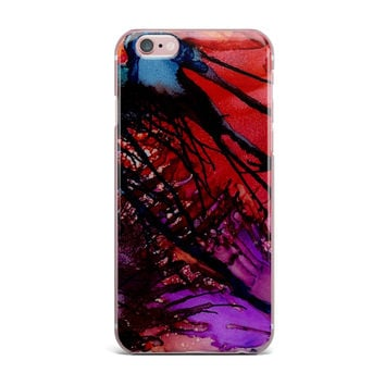 """Abstract Anarchy Design """"Daisy"""" Purple Yellow iPhone Case"""