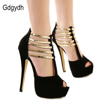 Gdgydh Wholesale 2017 summer fashion high-heeled shoes women metal decoration thin heels open toe high heels Shoes Pumps Red