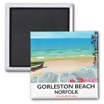 Gorleston Beach Norfolk Rail poster. Magnet