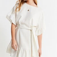 UO Suddenly Spring Linen Ruffle Tie Dress | Urban Outfitters