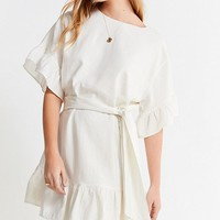 UO Suddenly Spring Linen Ruffle Tie Dress   Urban Outfitters