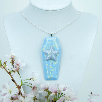 Kawaii Fairy Kei Pastel Goth Creepy Cute Blue and Purple Coffin Necklace with Stars and Moons