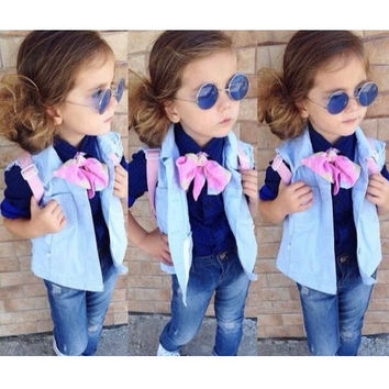 Girls 4 PC Trendy Denim Outfit