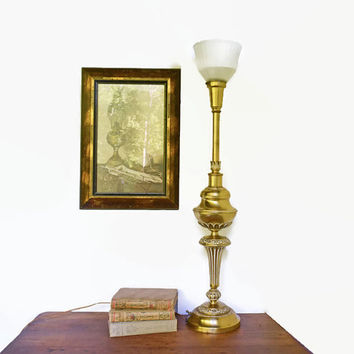 Vintage Torchiere Brass Lamp, Large Hollywood Regency Lamp, Large Scale Lamp with Milk Glass Shade, Diffused Lighting