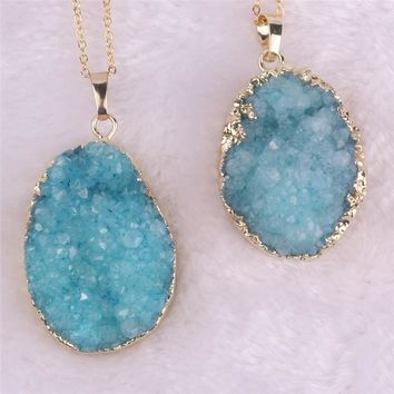 Women's Blue Natural Druzy Stone Pendant Gem Stone Statement Natural Stone Pendant Necklace