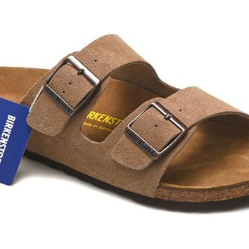 Men's and Women's BIRKENSTOCK sandals Arizona Soft Footbed Suede Leather 632632288-084
