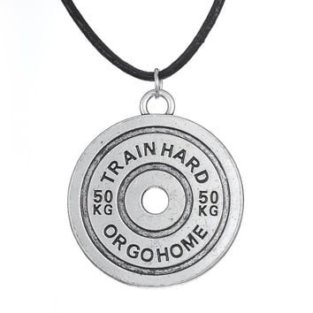Antique Silver Plated 50KG Weight Plate Train Hard or Go Home Barbell BBMAN Pendant Necklace Men Jewelry