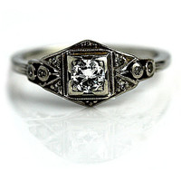 Antique Platinum and 18 Kt White Gold Transitional Cut Diamond Engagement Ring Circa Early 1900's