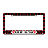 Barrel Racing Love with Hearts - License Plate Tag Frame - Hearts Love Design