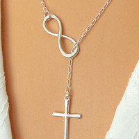 Cross and Infinity Lariat Necklace