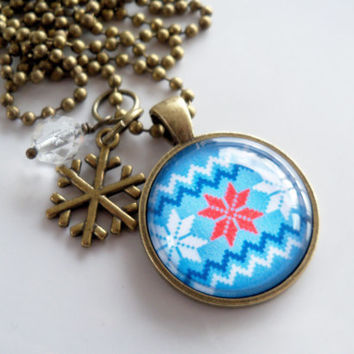 Nordic Pendant Necklace - Red White Blue - Fair Isle Design - Nordic Ornament - Scandinavian - Christmas Necklace - Holiday Gift - Norwegian