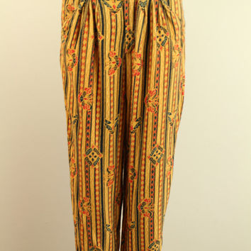90s - Boho - Ethnic - Tribal - Mustard Yellow & Red - Butterfly - Striped - High Waist - Pleated - Draped - Harem Pants