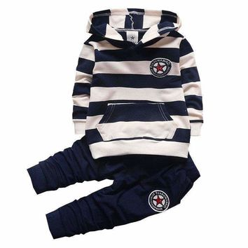 BibiCola Baby Boy Clothing Set Infant Bebe Sports Set Kid Hoodies+Pants Suit Set Toddler Girl Striped Tracksuit Children Clothes