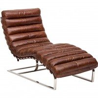 Oviedo Leather Chaise in Vintage Cigar