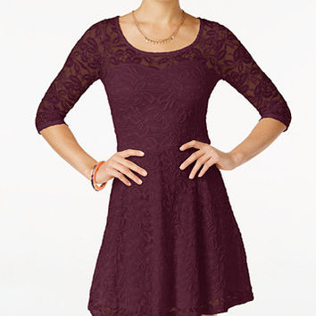 Material Girl Lace Illusion Skater Dress | macys.com