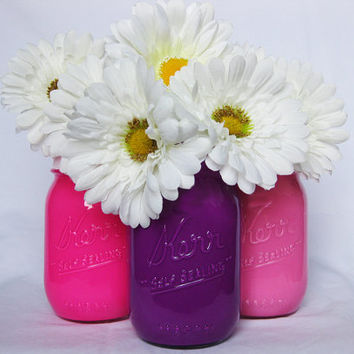 Pink and Purple Painted Mason Jar Set