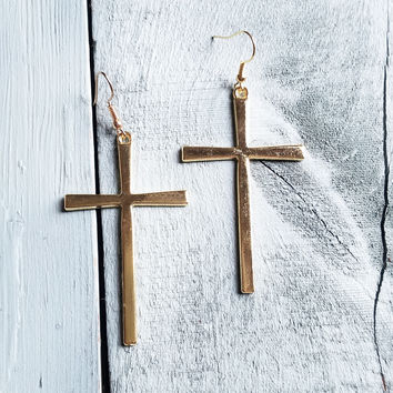 Gold Cross Earrings 236R