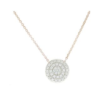 Gylla Clear CZ Circle Rose  Gold Pendant Necklace