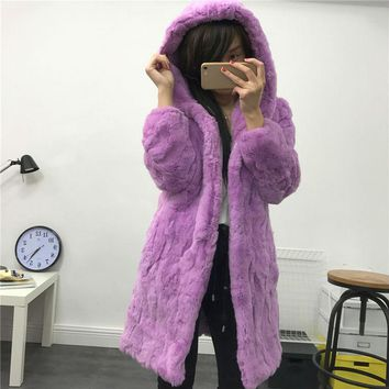Rex fur coat long coat coat hood warm jacket True fur