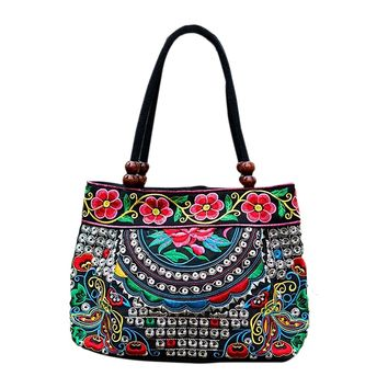 Chinese Style Women Handbag Embroidery Ethnic Summer Fashion Handmade Flowers Ladies Tote Shoulder Bags Cross-body  Butterfly