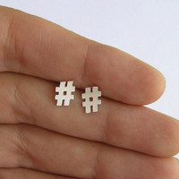 Silver Hashtag stud earrings - Twitter earrings - hash symbol studs - sterling Silver - Hand Cut