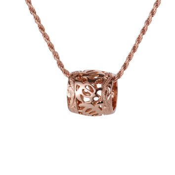 SOLID 14K PINK ROSE GOLD HONU TURTLE BARREL ENGRAVED HAWAIIAN SCROLL PENDANT