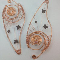 Copper Wire Elf Ear Tips / Ear Extensions - With Butterfly and Flower Accents