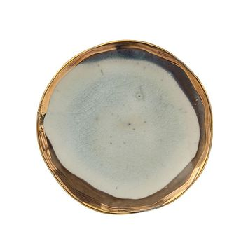 Round Ceramic Plate - Reactive Glaze and Gold Electroplating -- 5-in