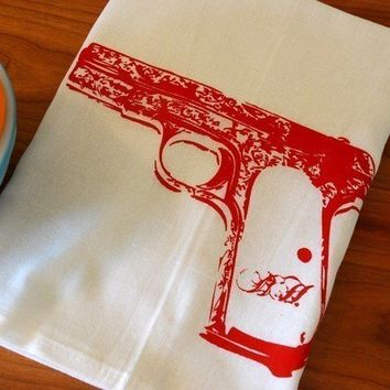 Screen Printed Pistol Bar Towel Red on White by branchhandmade