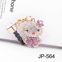 Kitty Rhinestone (JP-564-Light Purple) Dust Plug / Earphone Jack Accessory / Ear Cap / Ear Jack for