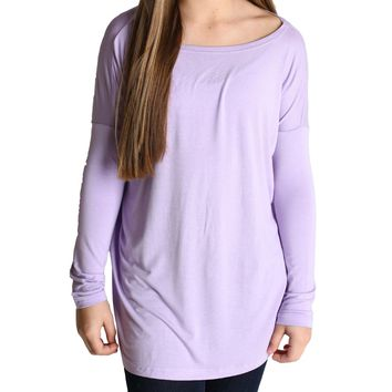 Lilac Piko Kids Long Sleeve Top