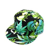 Korean Green Leaf Embroidery Hip-hop Summer Hats [4917716740]