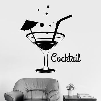 Vinyl Wall Decal Cocktail Glass Party Relax Bar Night Club Stickers Unique Gift (ig3427)