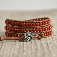 Skinny leather wrap bracelet. Red beaded natural boho chic bracelet