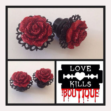 PICK SIZE glitter red Rose christmas Custom Plug earrings Rockabilly psychobilly pinup plugs