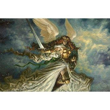 ANGEL warrior FANTASY painting POSTER WINGS guilded BUST 24X36 shield  SWORD