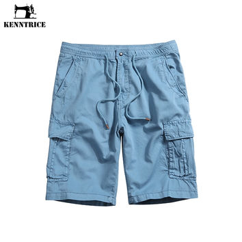 Male Shorts Stretch Straight Solid Summer Beach Short Men Soft Cotton Khaki Multi Pocket