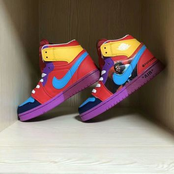 nike x one piece unisex casual fashion multicolor cartoon comic high help plate shoes couple sneakers