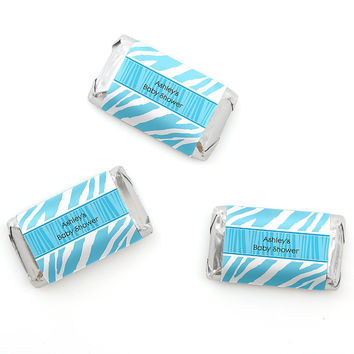 Blue Baby Zebra - Personalized Baby Shower Mini Candy Bar Wrapper Favors - 20 ct