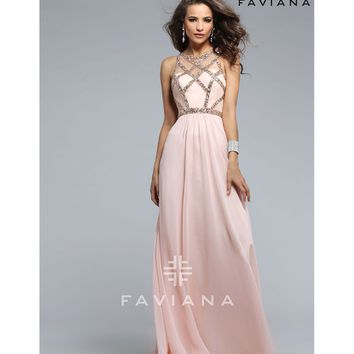 Preorder - Faviana 7759 Soft Peach Pink Sweetheart Long Dress 2016 Prom Dresses