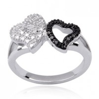 Sterling Silver Black and White Diamond-Accent Double Heart Ring