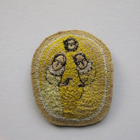 yellow bird in hand brooch  original embroidery by cathycullis