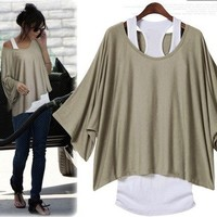 Bat Sleeve One Size Loose Fashion T-shirt Vest For Women