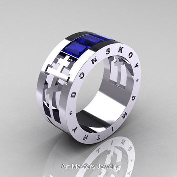 Dmitry Donskoy Mens 14K White Gold Blue Sapphire Channel Cluster Wedding Band R419M-14KWGBS