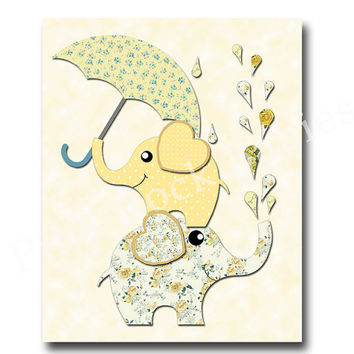 Neutral nursery decor, baby girl wall decor, baby boy wall art, kids room decor, yellow elephant, nursery elephant print, children art
