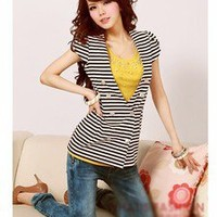 Unique design Short-sleeved Striped V-neck Button Outerwear free shipping
