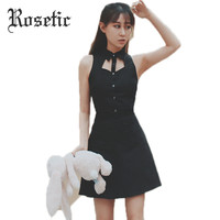 Rosetic Gothic Dresses Black Hollow Sexy Sleeveless 2017 Summer Polo Neck Single-Breasted Plain Above Knee Gothic Mini Dresses