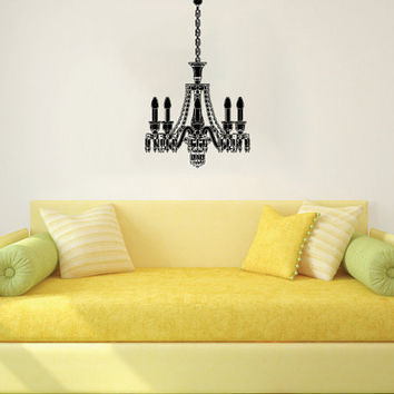 Chandelier Wall Decal Vinyl Sticker Decals Art Home Decor Mural Chandelier Light Vintage Candles Living Room Nursery Bathroom Dorm AN483