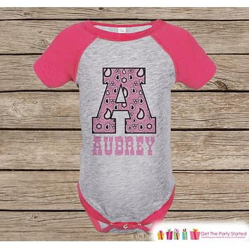 Girl's Initial Outfit - Western Print Initial Pink Raglan Shirt - Pink Baby Girl Onepiece or Tshirt - Novelty Raglan Tee - Cowgirl, Western